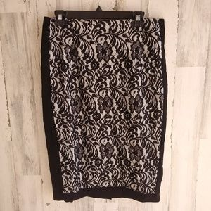 Worthington Floral Skirt With Black Lace NWT